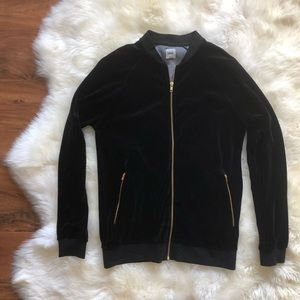 ASOS Black Velvet Track Gold Hardware Sweater